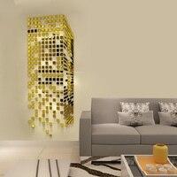 Mosaic Acrylic 3D Wall Sticker Mirror Entrance living room TV background wallpaper Wall decoration Creative mirror wall sticker