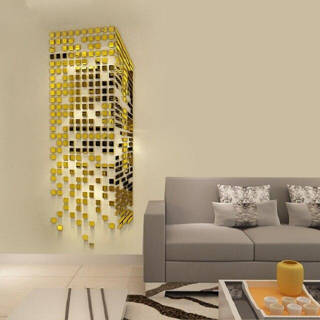 Mosaic Acrylic 3D Wall Sticker Mirror Entrance living room TV ...