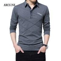 Arcsinx 5xlポロシャツ男性プラスサイズ3xl 4xl 2017秋冬のブランドのメンズポロシャツ長袖無地カジュアル男性シャツ