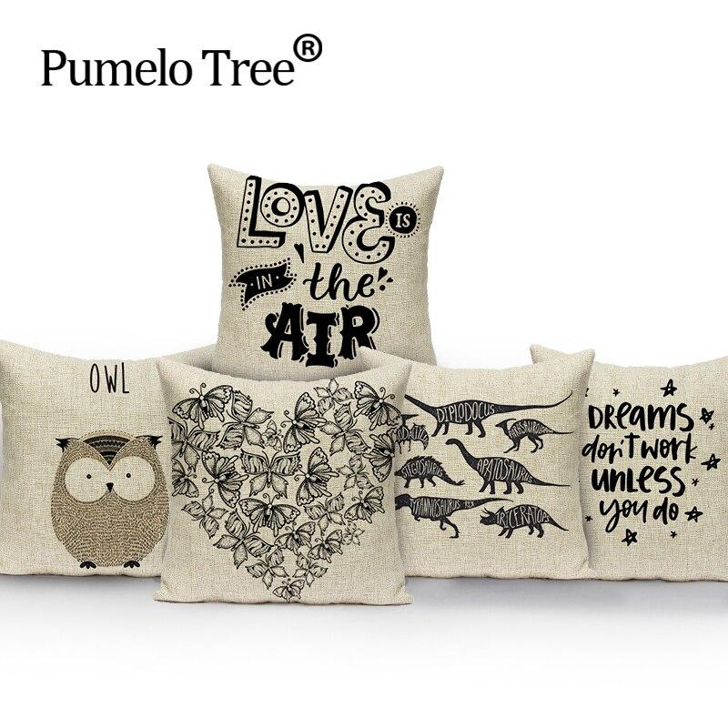 Crtani životinja životinja Šareni jastuk za dom Dekorativni automobil sa mekim sjedištem Pokriva platnene trake sova medvjeđe odijelo jastuk almohada