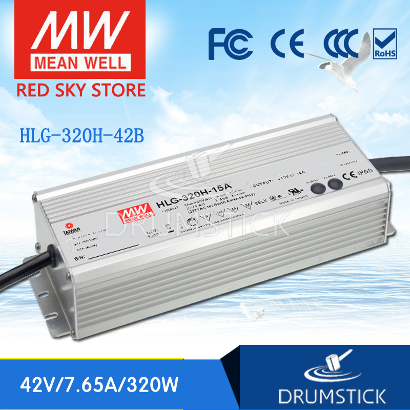 все цены на Selling Hot MEAN WELL original HLG-320H-42B 42V 7.65A meanwell HLG-320H 42V 321.3W Single Output LED Driver Power Supply B type онлайн