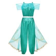 Kid Aladdin and the Magic Lamp's Princess Jasmine Top Pants Clothing Set with Headband Girl Jasmine Birthday Party Dress Cosplay