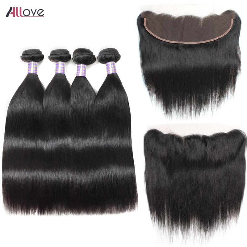 Allove Indian Straight Hair Bundles With Frontal 100% Remy Human Hair Bundles With Frontal Natural Color 4 Bundles With Frontal