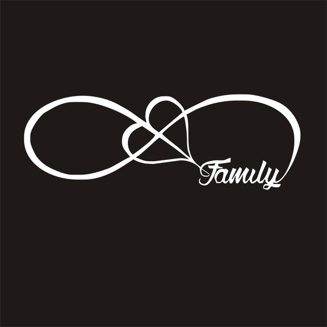 DEDC 1PC FAMILY Love Heart Forever Symbol Vinyl Decals Car Sticker Car-styling