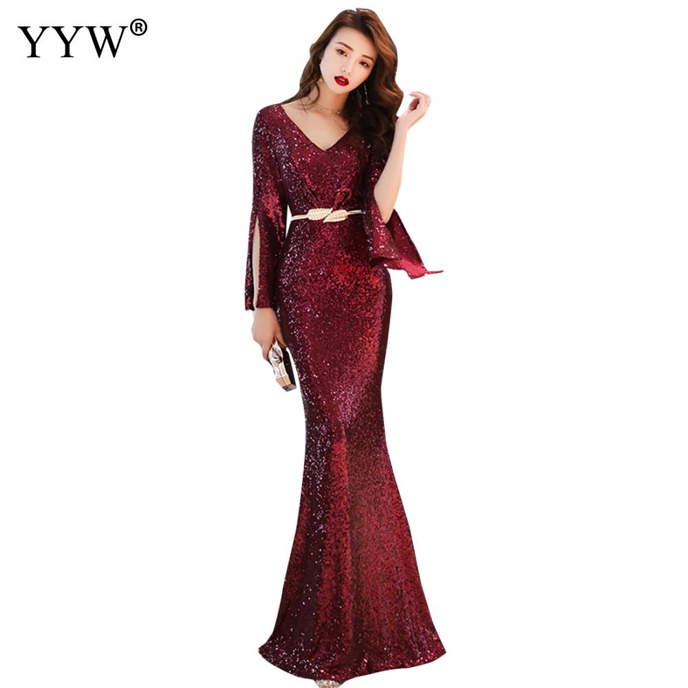 2019 Gold Red Green Sequined Maxi Evening Dress Women V Neck Cloka Sleeves Club Vestidos Celebrity Elegant Party Mermaid Dresses