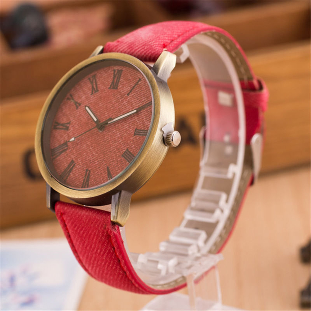 Watches Contemplative Retro Women Men Casual Roman Numeral Dial Denim Fabric Analog Quartz Wrist Watch