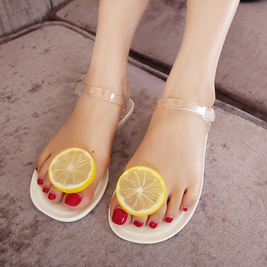 e1399cb4269aa1 Hot selling 2016 new summer black and white girls jelly sandals female  lemon flower flat heel flip-flop womens beach shoes C72