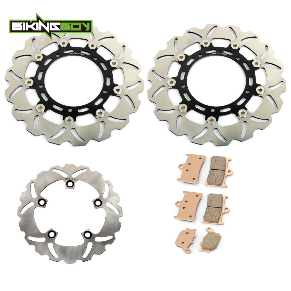 BIKINGBOY Motorcycle Front Rear Brake Disk Disc Rotor Pad for YAMAHA YZF R6 R1 YZF-R6 YZF-R1 YZF 600 1000 YZFR6 YZFR1 05-15 2016 motorcycle part front rear brake disc rotor for yamaha yzf r6 2003 2004 2005 yzfr6 03 04 05 black color