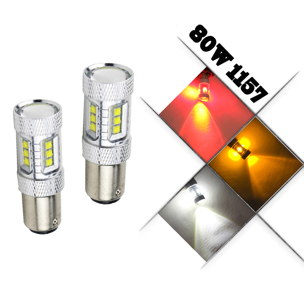 2 X RED/White 1157 P21/5W Bay15d S25 15SMD Cree chips High Power LED Brake Light Bulb 1016 1034 1157 1157A 1178A 1196 2057 2057A