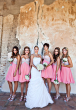 2014 Sexy Mini Short Bridesmaid Dresses New Arrival Long Chiffon Beaded  Pink Peach For Wedding Occasion