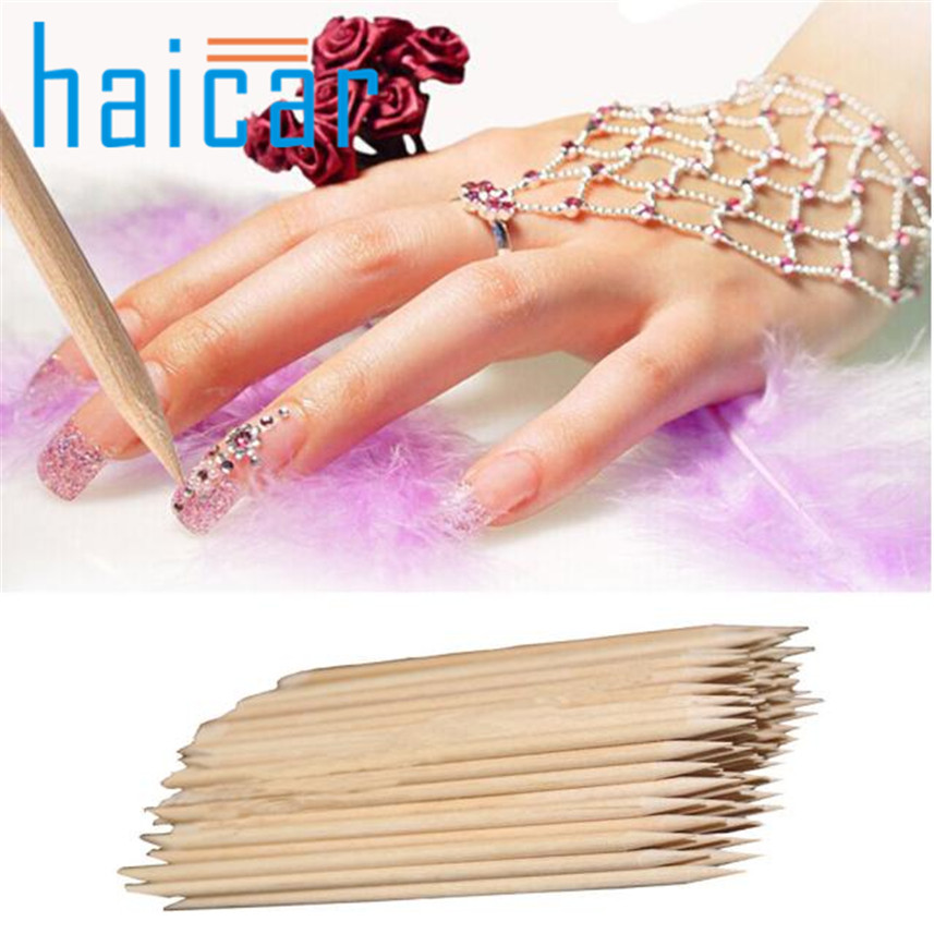 90Pcs Nail Art Orange Wood Stick Cuticle Pusher Remover Pedicure Manicure Tool  27GY