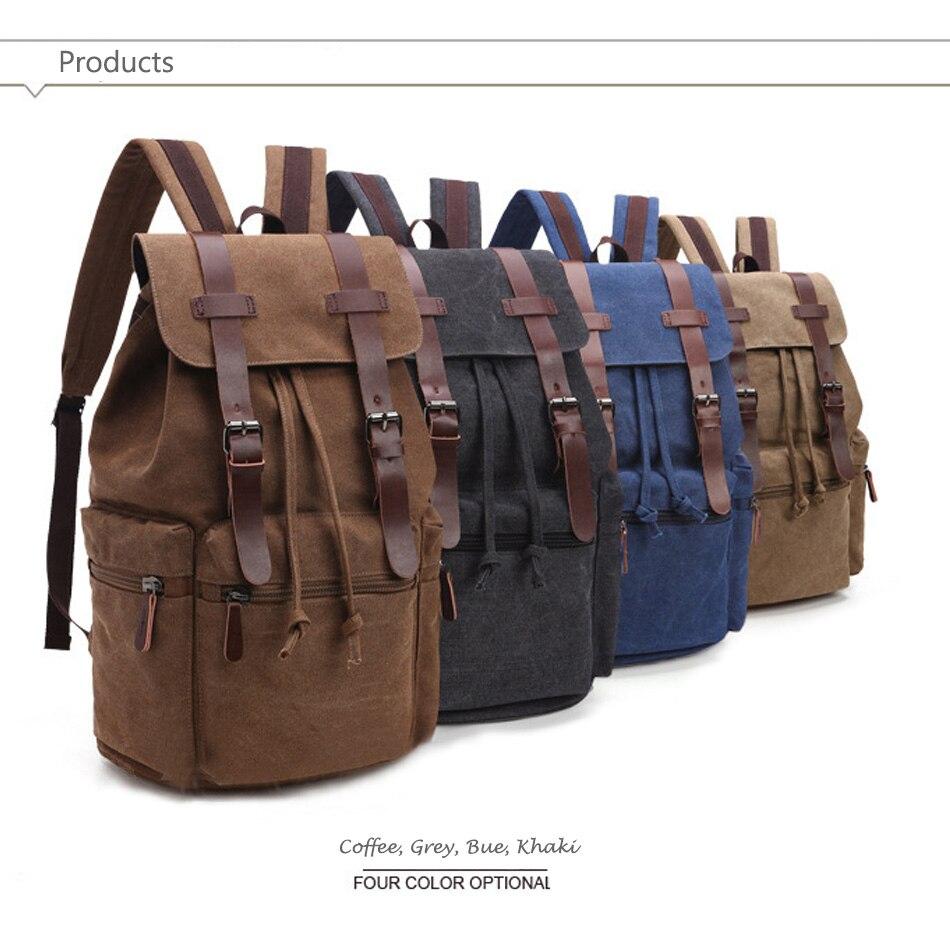 Retro Canvas Leather School Backpack Vintage Schcoolbag for Teenager girls  Men women Backpack College Book Bag ... 9c0adddeef