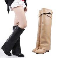Женские сапоги до колена с ремешком и пряжкой, Большие европейские размеры 35-42, увеличивающие рост, на среднем каблуке, Botas, женские сапоги в ...