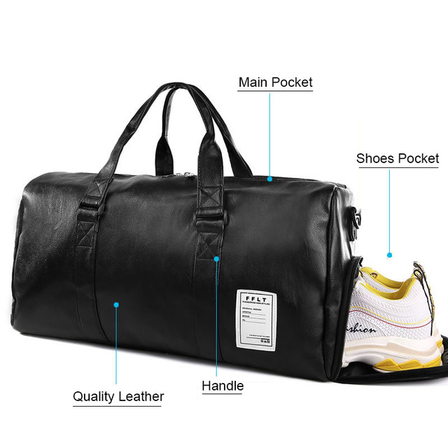 Gym Bag Leather Sports Bags Dry Wet Bags Men Training for Shoes Fitness Yoga Travel Luggage