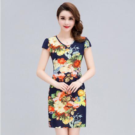 Women Summer Short sleeve dresses Slim Tunic Milk Silk print Floral plus  size vestido feminino loose casual Short dresses G633