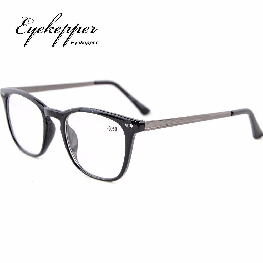 84c35fd99df6 RJ003 Eyekepper Readers Retro Square Plastic Frame Metal Arms Reading  Glasses +0.50---+4.00