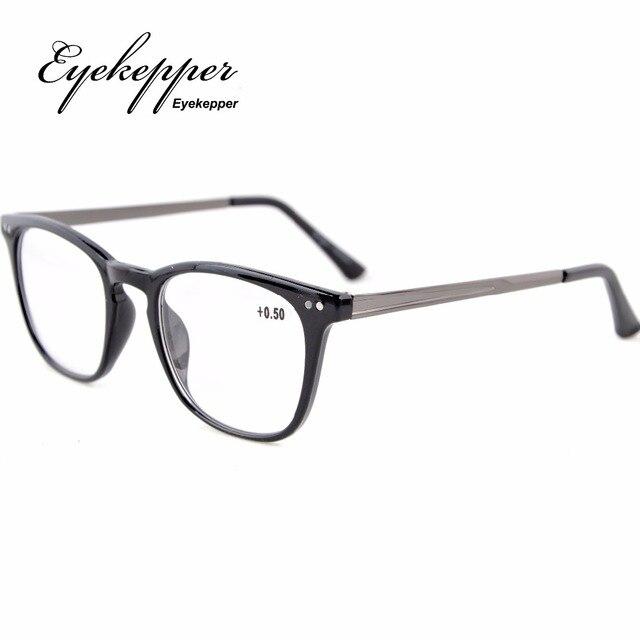 RJ003 Eyekepper Readers Retro Square Plastic Frame Metal Arms Reading Glasses +0.50---+4.00