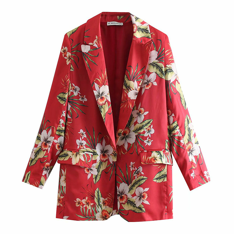 Two-Piece Red Flower Print Long-Sleeved Long Suit Jacket High Waist Wide Leg Shorts 2019 Summer New Fashion Women's Clothing