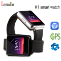 Mtk6580 lemado k1 smart watch phone android 5.1 os 512 mb + 8 gb wifi suporte gps sim card bluetooth smartwatch para a apple android