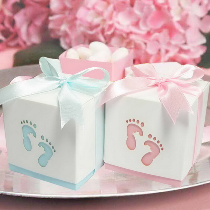 Pterry Feet Laser Cut out Baby Shower Favor Gift Candy Box ...
