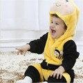 2016 Infantil Romper Do Bebê Das Meninas Dos Meninos Macacão New born Bebe Roupas Com Capuz Roupas de Bebê Da Criança Trajes de Abelha Bonito Romper Do Bebê