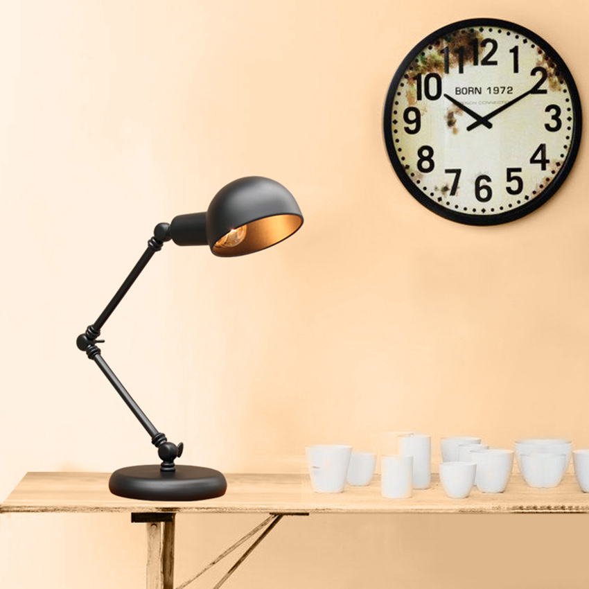 Vintage Lampshade Adjustable Table Lamps Lights Retro Brief Iron Plated Durable Desk Light Study Classic Black Metal Table Light vintage handmade art retro wood tripod table lamps desk light searchlight alumnum metal copper lampshade nordic design tll 4