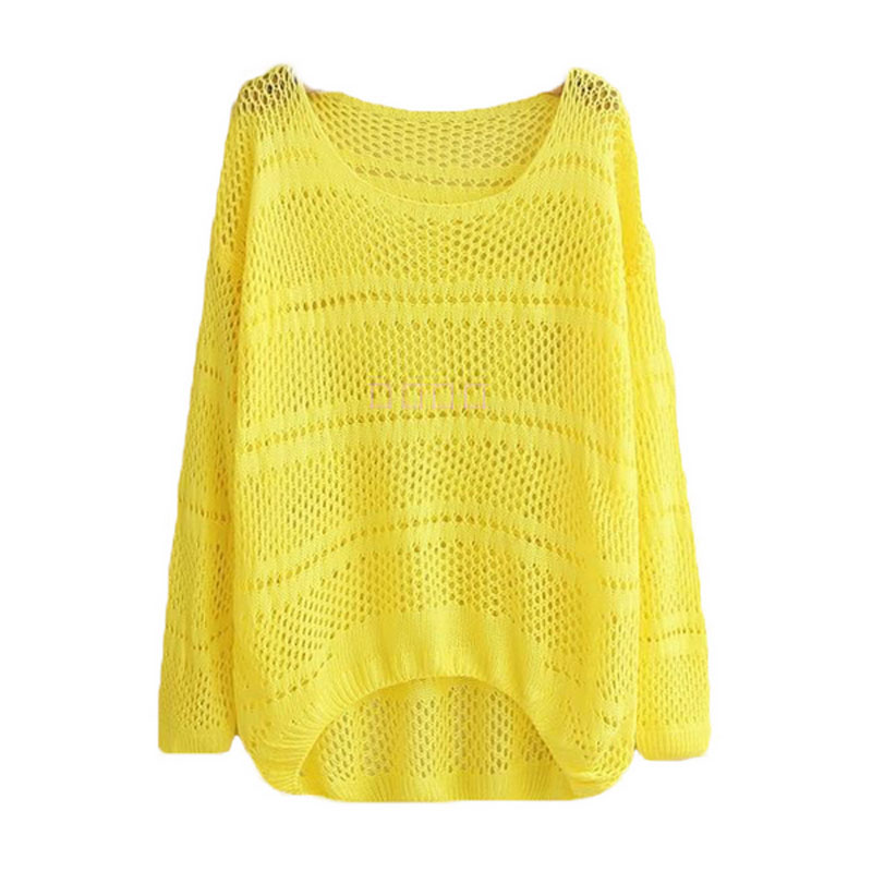 Women Summer New Plus Size Knitted Sweater O Neck The Long Sleeves Hollow Solid Color Sweater Front Short Back Long QH0169