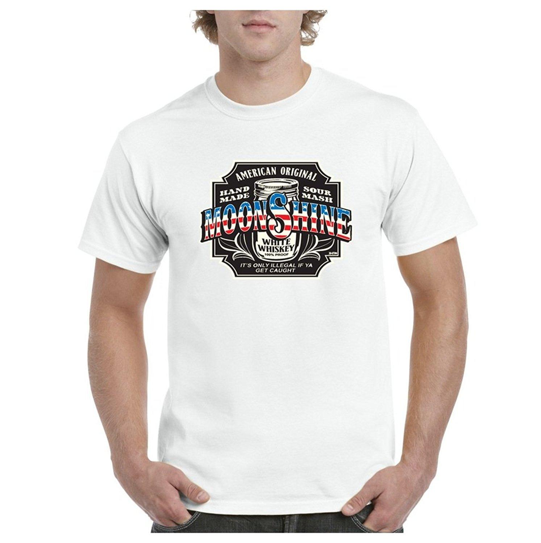 Peinture D'impression Pas Cher T ShirtA + Moonshine Whisky Blanc Mens T-shirt Tee100 % Coton Custom Made T-shirts