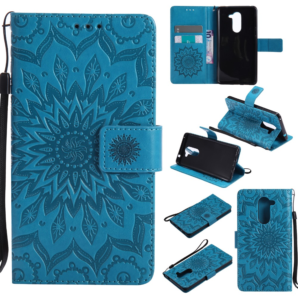 Sunflower Pattern Case for fundas Honor 6X 7X Y3 Y5 2017 Case for Huawei P20 Pro P20 Lite Case 5.5 inch + Card Holder