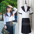 Japan Women JK Furyo Hexagram Student Sailor School Uniform Long Pleated Skirt