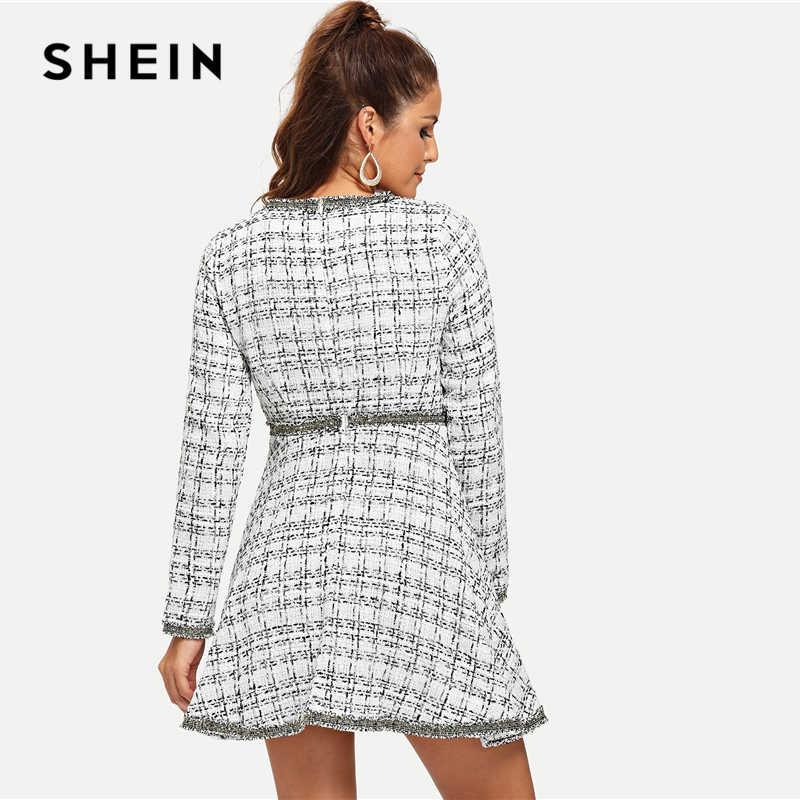 SHEIN белый элегантный офисный женский манжета с бисером бахрома и жемчужина Украшенные Длинный рукав твидовое платье осенние элегантные женские платья