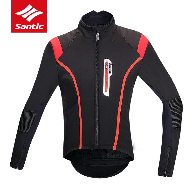 цена Santic Cycling Jacket Men 2018 Winter Thermal Road Bike Bicycle Jersey Windproof Sports Cycling Clothing DH Ropa Ciclismo онлайн в 2017 году
