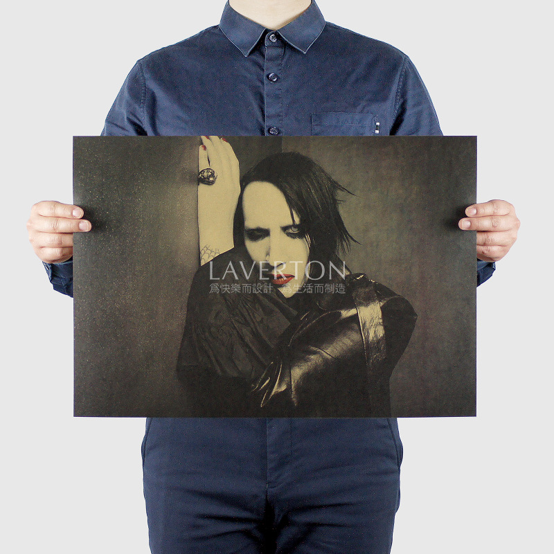 Marilyn Manson A/ ROCK BAND MUSIC Musician / Kraft Paper / Wall Stickers / Bar Poster/ Retro Poste R/decorative Painting 51x35.5