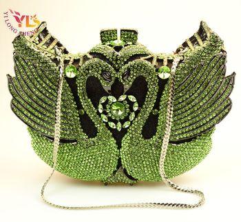 Fashion Luxury Crystal Bags Designer rhinestone swan Clutch Bags for Ladies Purse Wedding Bridal Evening Bags