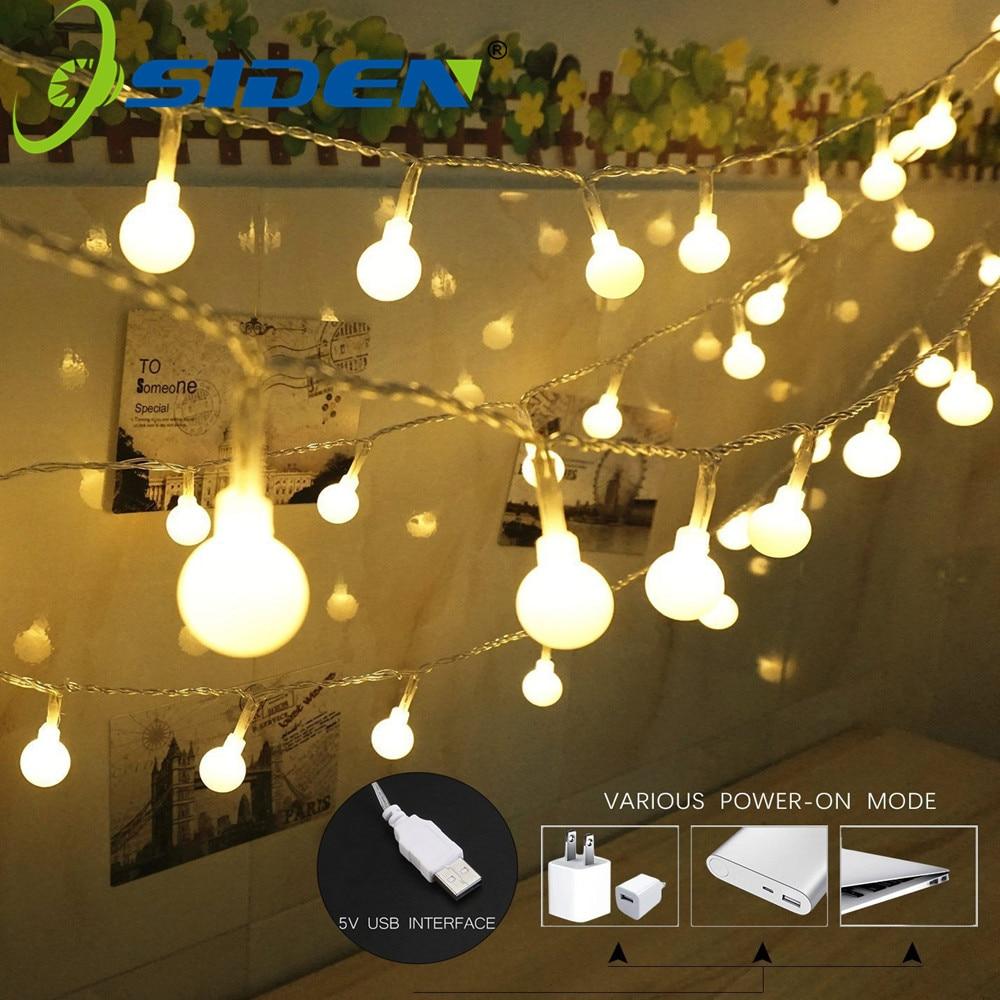 Cadena De Luces Hoilday Iluminación Led Bola 5 V Usb Año Nuevo Navidad Exterior Interior Decorativo Hada Luces Navidad Lámpara Adoptar TecnologíA Avanzada