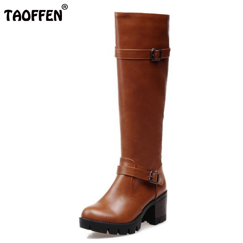 TAOFFEN Women High Heel Over Knee Boots Fashion Winter Snow Warm Motorcycle Long Boot Platform Quality Footwear Shoes Size 32-43 taoffen free shipping ankle boots women fashion short boot winter footwear high heel shoes sexy snow warm p8710 eur size 34 39