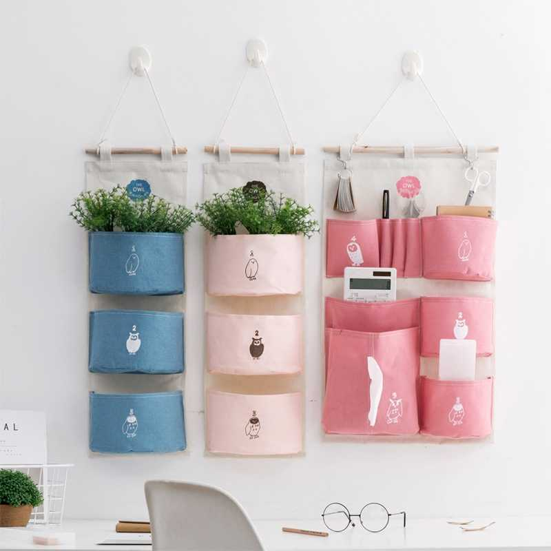 Home printed cloth storage bags doors pockets dormitory walls hanging bags