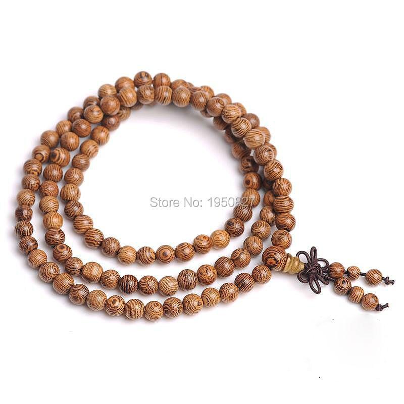 108 Wenge Prayer Beads Tibetan Buddhist Buddha Bracelet Rosary Wooden Bangle Bracelet Jewelry