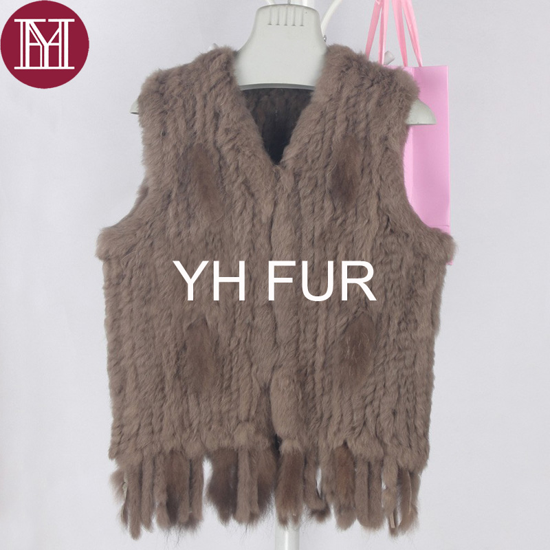Image 5 - Winter women real rabbit fur vest with tassel lady knit 100% real