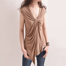 Euro 2016 deep V-neck pullover women shirt autumn winter fashion patchwork sleeveless drape knot sexy slim tees women tops 2E198