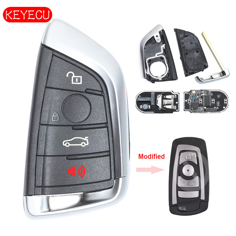 Keyecu Modified Smart Remote Key Fob 4 Button 315MHz/ 434MHz / 868MHz For BMW CAS4 CAS4+ F Chassis 5 7 Series 2012-2016