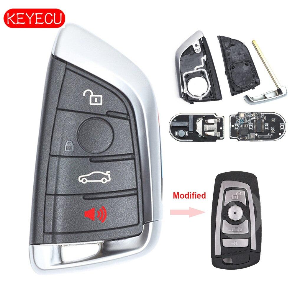 Keyecu Modifié Intelligent À Distance Clé Fob 4 Bouton 315 mhz/434 mhz/868 mhz pour BMW CAS4 CAS4 + F Châssis 5 7 Série 2012-2016