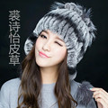 New arrival 2016  lady rex rabbit knitted fur hat fox fur pompom  ear protection thick warm winter skullies female fashion cap