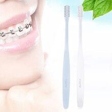 2 шт./пакет Ортодонтическая зубная щетка вогнутая и выпуклая щетка DuPont щетина с ионами серебра Антибактериальный уход за деснами белый и синий
