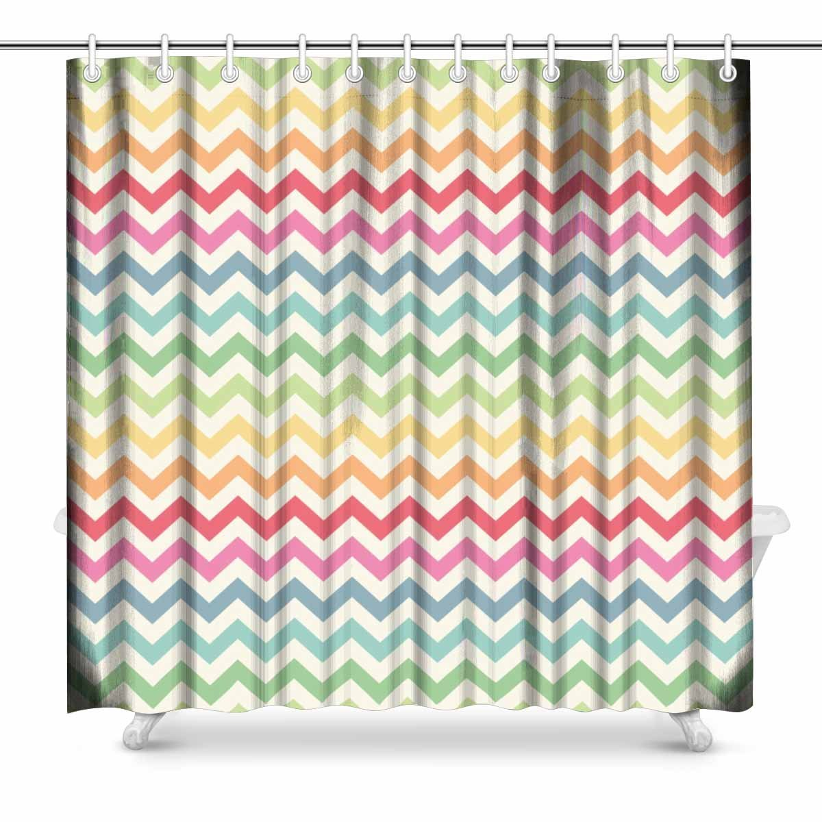 Aplysia Cute Retro Chevron Pattern Rainbow Colors Print Polyester Fabric Shower Curtain 72 X Inches