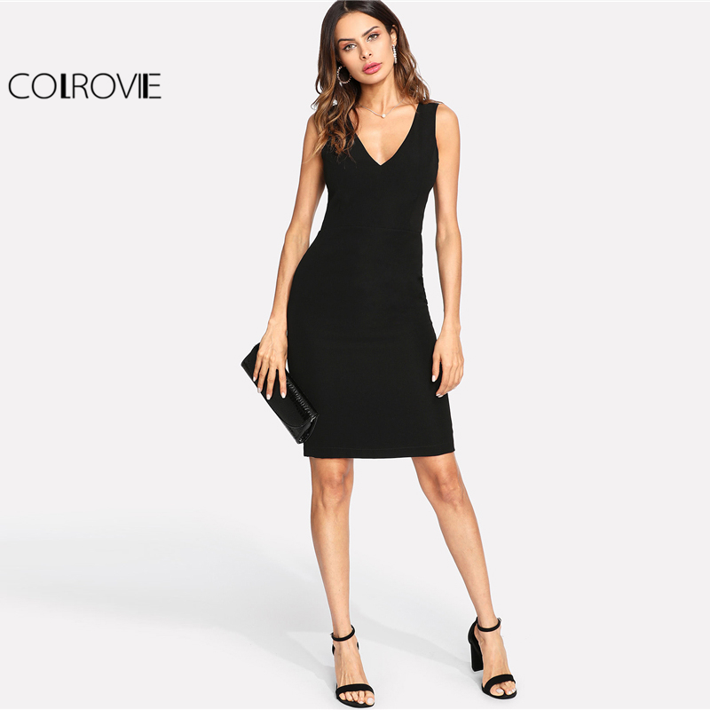 COLROVIE 2018 V Neck Sleeveless Dress Black Contrast Scalloped Eyelash Lace Plain Party Dress Women Sexy Backless Short Dress