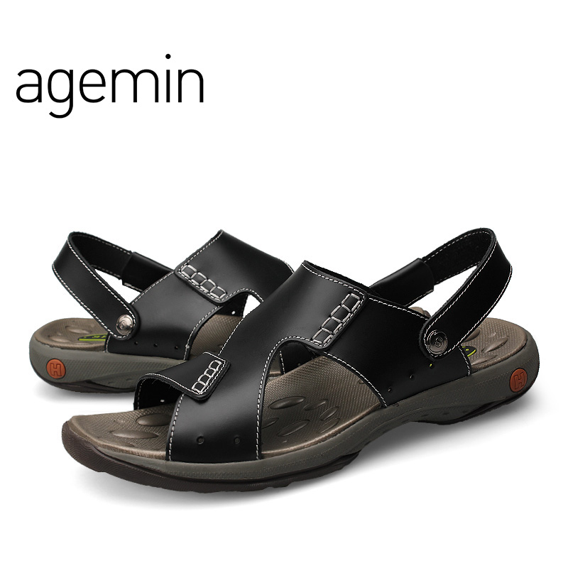 Agemin 2018 Classic Mannen Sandalen Comfortabele Mannen Zomer - Men's Shoes - Photo 5