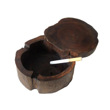 Cenicero de madera de teca hecho a mano estilo del Sudeste Asiático para fumar con tapa Cenicero Vintage Bar SPA Mesa Cenicero decorativo