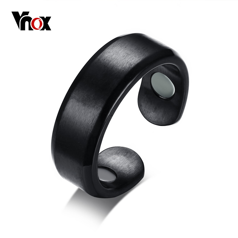 Vnox Health Care 7mm Men Ring Magnetic Therapy Black Male Jewelry Stainless Steel Wedding Bands Bijoux
