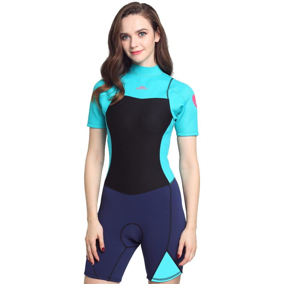 Bonverano (mc) combinaison femme 2mm en néoprène une pièce avec fermeture éclair arrière en bleu Aqua